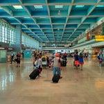 Между 1 и 2,3,4 терминалами приличное расстояние. Если вылет не из 1 терминала то придеться пройтись. Так же бываю ситуации когда сдаешь багаж в одном терминале а вылет из другого.
