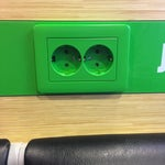 Power points are all European 2-pin configurations. Unfriendly to universal adapters as they do not secure well. More privacy cubicles with tables would be a plus.