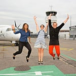 "U.S. AMBASADOR LeVine with Aline Trede and Simona Silvestro during a photo shoot at "" BERN INTERNATIONAL AIRPORT -BRN"""