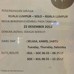 AirAsia Flight AK-1336/AK-1337 (KUL <=> SOC) Began operating again on December, 22nd 2012.