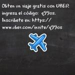Viaja gratis en tu primer biaje con UBER codigo: q99os