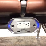 Very convenient outlets underneath the waiting area seats.