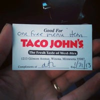 Photo taken at Taco John's by Todd H. on 3/28/2013