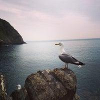 Photo taken at Spiaggia di Riomaggiore by Ana G. on 4/26/2013
