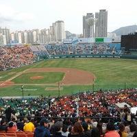 Photo taken at Sajik Baseball Stadium by Gyuny J. on 3/30/2013