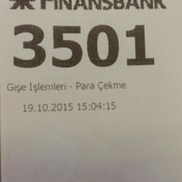 Photo taken at QNB Finansbank by Ali D. on 10/19/2015
