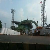 Photo taken at Stadion Lebak Bulus by Tammy on 1/24/2015