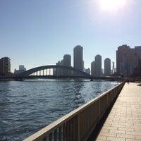 Photo taken at 隅田川テラス 日本IBM本社事業所前 by Futoshi T. on 1/4/2016