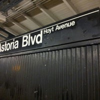 Photo taken at MTA Subway - Astoria Blvd/Hoyt Ave (N/W) by Margaret P. on 3/16/2013