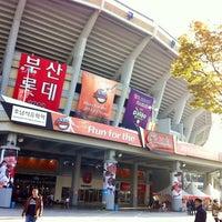 Photo taken at Sajik Baseball Stadium by EunSeok K. on 10/20/2012