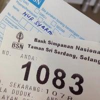 Photo taken at Bank Simpanan Nasional (BSN) Serdang by Syarmine I. on 3/8/2016