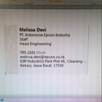 Photo taken at PT. Indonesia Epson Industry by Melissa D. on 9/5/2013