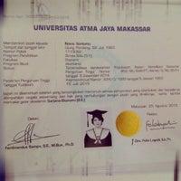 Photo taken at Universitas Atma Jaya Makassar (UAJM) by Novia N. on 11/6/2015