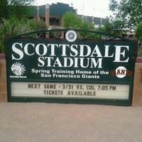 Photo taken at Scottsdale Stadium by Jared S. on 3/22/2013