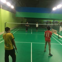 Photo taken at Champion Badminton Court by Nurr S. on 6/28/2018
