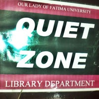 Photo taken at SJB Library our lady of fatima university by Jastine Mae E. on 10/12/2012