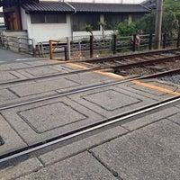 Photo taken at 嵐電 四条大宮5号踏切 by うみ u. on 5/6/2014