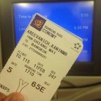 Photo taken at Thai Airways Flight TG 115 by Kanin A. on 2/11/2013