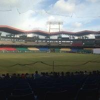 Photo taken at Jawaharlal Nehru Stadium by Christy J. on 10/10/2013