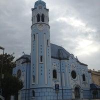 Photo taken at Kostol sv. Alžbety (The Blue Church) by Tarık Ziyat R. on 10/7/2012