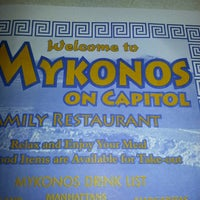 Photo taken at Mykonos Family Restaurant by E.R J. on 9/22/2012