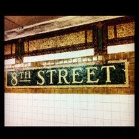 Photo taken at MTA Subway - 8th St/NYU (R/W) by Jessica L. J. on 5/19/2013