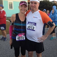 Photo taken at Obx half marathon starting line by Chris C. on 11/10/2013