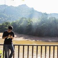 Photo taken at River Kwai Jungle Raft Floating Hotel Kanchanaburi by Pete P. on 11/6/2016