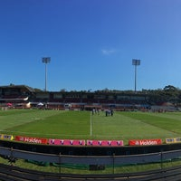 Photo taken at Brookvale Oval by Aaron T. on 7/16/2017