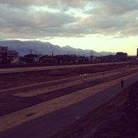 Photo taken at 新荒川橋 by Seiji K. on 1/5/2014