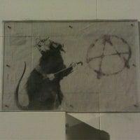 Photo taken at Banksy Mural: 'Glitter Glasses' Rat by Mike G. on 8/6/2011