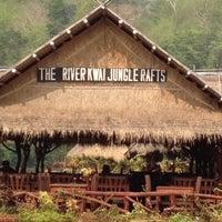 Photo taken at River Kwai Jungle Raft Floating Hotel Kanchanaburi by Khao Pad K. on 3/31/2012