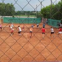 Photo taken at Röpte teniszpálya/lelátó :o) by Anikó Z. on 6/28/2012