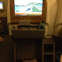 Photo taken at Emirates (Airbus A380) Business Class by Meme on 1/4/2014