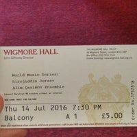 Photo taken at Wigmore Hall by Onur C. on 7/14/2016