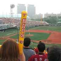 Photo taken at Mokdong Baseball Stadium by Sunjeong Y. on 6/8/2013