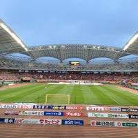Photo taken at Denka Big Swan Stadium by Daisuke K. on 4/20/2013