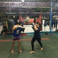 Photo taken at Nikhom Muay Thai Virapol GYM by Pinladee O. on 4/3/2014
