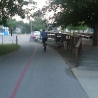 Photo taken at Monon Trail at Broad Ripple Apartments by Michael &. on 8/12/2013