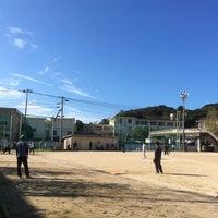 Photo taken at 石田小中学校 グラウンド by Kosuke W. on 10/9/2016