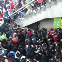 Photo taken at Myeong-dong Stn. by 쭈꾸미 박. on 12/25/2012