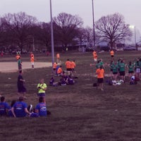 Photo taken at Patterson Park Kickball by Tenley H. on 4/11/2013
