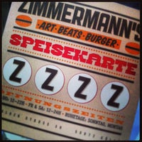 Das Foto wurde bei Zimmermann's - Art, Beats, Burger von Ben K. am 2/6/2013 aufgenommen