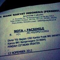 Photo taken at BRI Cabang Banjarnegara by Ryan V. on 11/14/2012