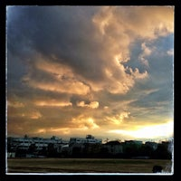 Photo taken at Nihon University Track and Field Stadium by Takahiro Y. on 12/29/2012