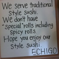 Photo taken at Echigo Sushi by David K. on 4/17/2013