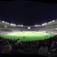 Photo taken at Ajinomoto Stadium by oshin s. on 4/3/2013
