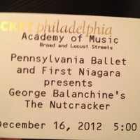 Photo taken at Pennsylvania Ballet @ Academy of Music by Tyler O. on 12/16/2012