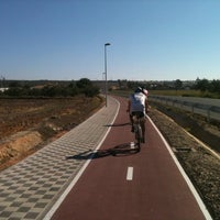 Photo taken at Carril-bici Olivares-Salteras by SevillaEnBici on 10/15/2011