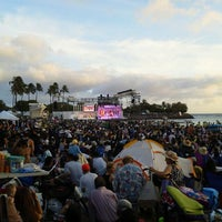 Photo taken at Memorial Day Lantern Floating Ceremony @ Ala Moana Beach Park by v_HIMAWARI_v ~. on 5/29/2012